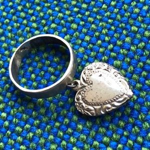Jewelry - Handmade Sterling silver puffy heart charm ring s6
